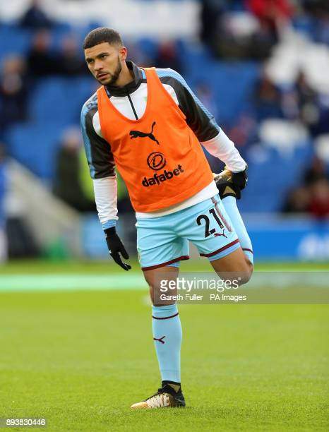 Burnley's Nahki Wells warm up prior to the Premier League match at the AMEX Stadium Brighton