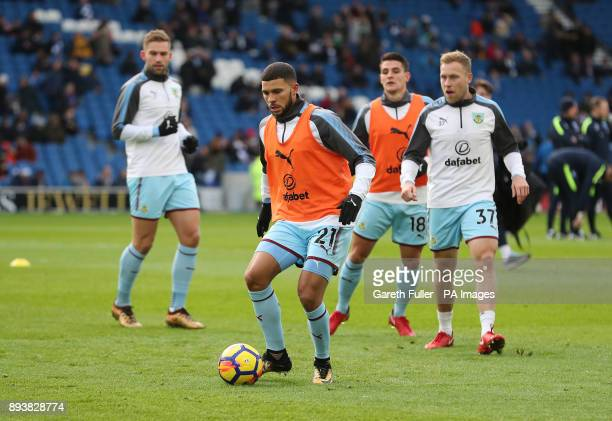 Burnley's Nahki Wells warms up prior to the Premier League match at the AMEX Stadium Brighton
