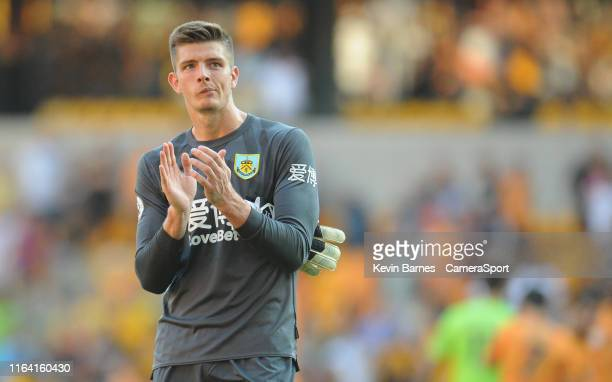 Burnley's Nick Pope applauds the fans during the Premier League match between Wolverhampton Wanderers and Burnley FC at Molineux on August 25 2019 in...