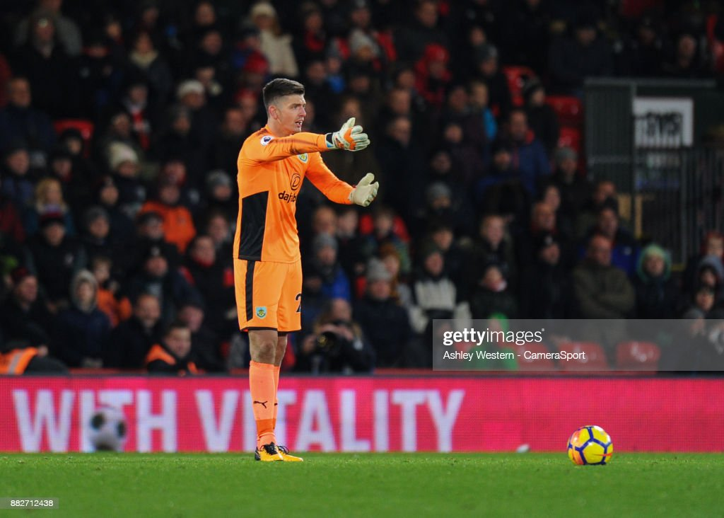 Burnley's Nick Pope during the Premier League match between AFC Bournemouth and Burnley at Vitality Stadium on November 29, 2017 in Bournemouth, England.