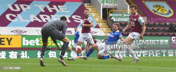 Burnley's Nick Pope saves a shot from Brighton Hove Albion's Alexis Mac Alliste during the Premier League match between Burnley FC and Brighton Hove...
