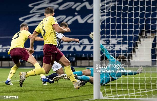 Burnley's Nick Pope saves at close range from West Bromwich Albion's Branislav Ivanovic during the Premier League match between West Bromwich Albion...