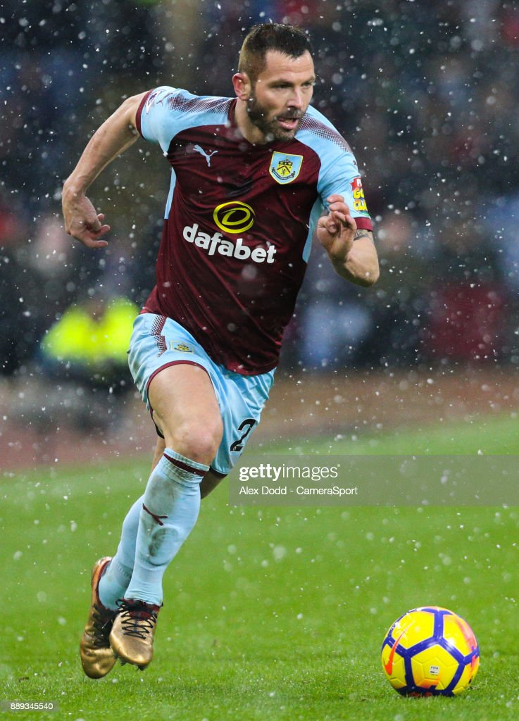 Burnley's Phil Bardsley during the Premier League match between Burnley and Watford at Turf Moor on December 9, 2017 in Burnley, England.