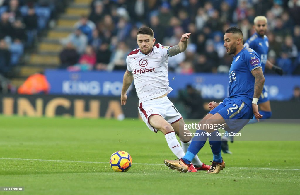 Burnley's Robbie Brady and Leicester City's Danny Simpson during the Premier League match between Leicester City and Burnley at The King Power Stadium on December 2, 2017 in Leicester, England.