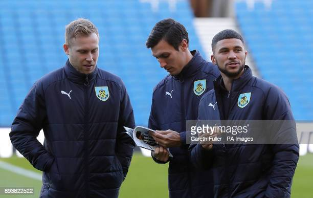 Burnley's Scott Arfield Jack Cork and Nahki Wells prior to the Premier League match at the AMEX Stadium Brighton