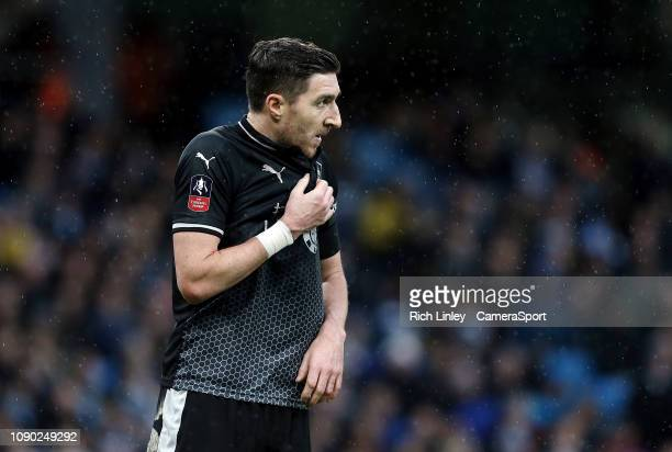 Burnley's Stephen Ward during the FA Cup Fourth Round match between Manchester City and Burnley at Etihad Stadium on January 26 2019 in Manchester...