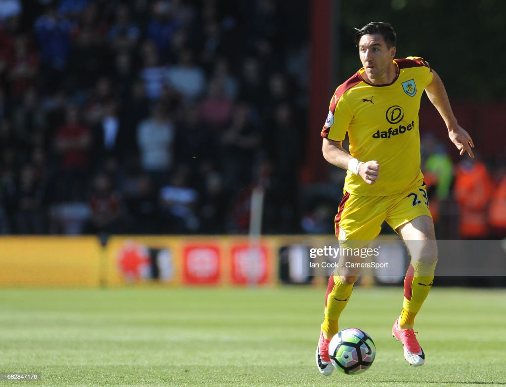 Burnley's Stephen Ward in action during the Premier League match between Bournemouth and Burnley at Vitality Stadium on May 13, 2017 in Bournemouth, England.