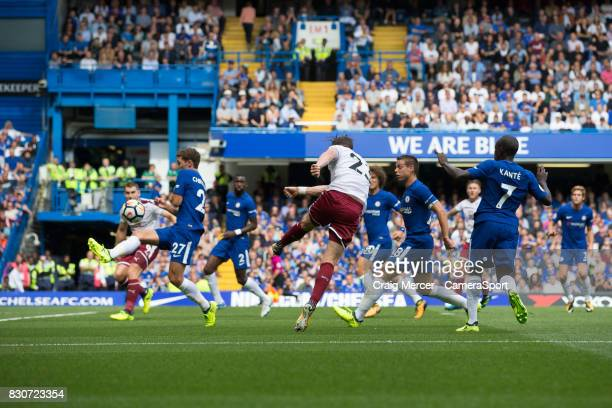 Burnley's Stephen Ward scores his sides second goal during the Premier League match between Chelsea and Burnley at Stamford Bridge on August 12 2017...