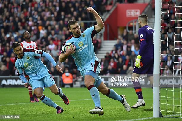 Burnley's Welsh striker Sam Vokes celebrates after scoring from the penalty spot during the English Premier League football match between Southampton...