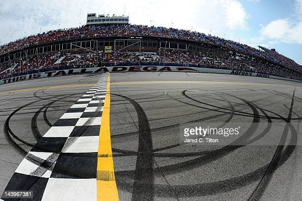 Burnout marks are shown on the start finish line after the NASCAR Sprint Cup Series Aaron's 499 at Talladega Superspeedway on May 6 2012 in Talladega...