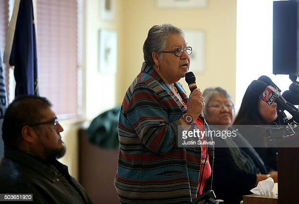 Burns Paiute Tribal Council chair Charlotte Rodrique speaks during a press conference on January 6 2016 in Burns Oregon The Burns Paiute Tribal...