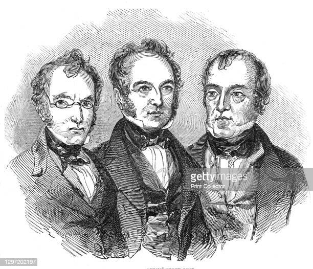 "Burns' three sons, 1844. Sons of Scottish poet Robert Burns: Robert Burns, James Glencairn Burns, and William Nicol Burns. From ""Illustrated London..."