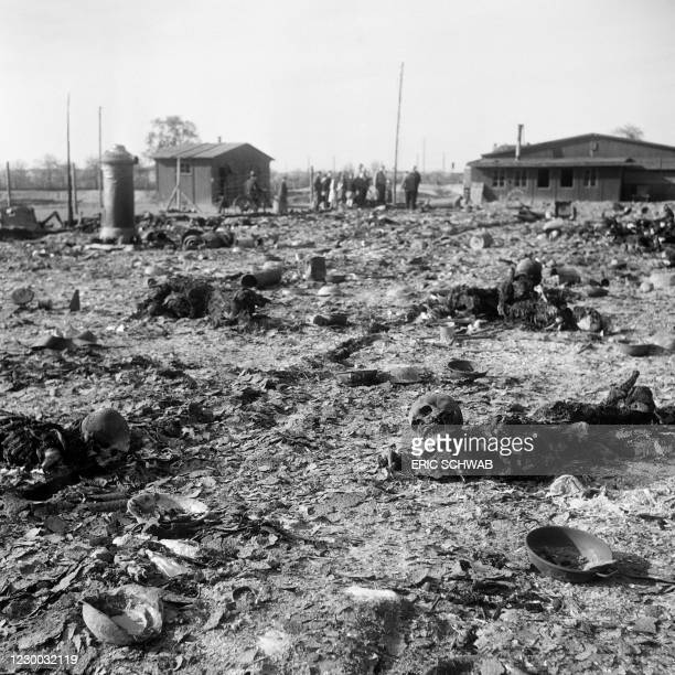 Burnt bodies lie on the ground in the Thekla camp, outside Leipzig, end of April 1945. On the 18th of April, the workers of the Thekla plane factory...