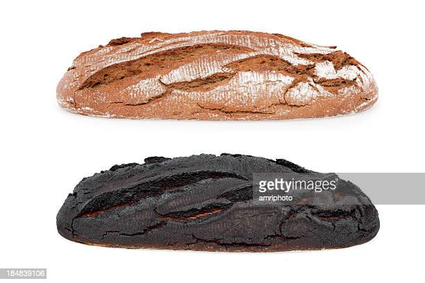 burnt bread isolated - burnt stock pictures, royalty-free photos & images