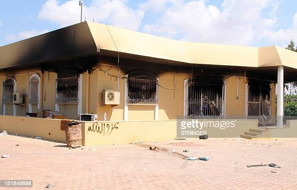 A burnt building is seen inside the US Embassy compound on September 12 2012 in Benghazi Libya following an overnight attack on the building The US...