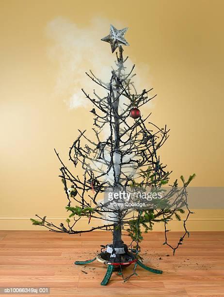 Burnt Christmas tree with smoke
