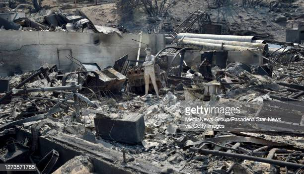 Burnt garage on the property of Frank Kenton along with other buildings during the Bobcat Fire last night in Juniper Hills on Saturday September 19...