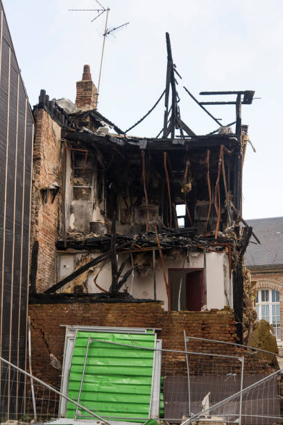 Burnt house in the city center of Amiens, France