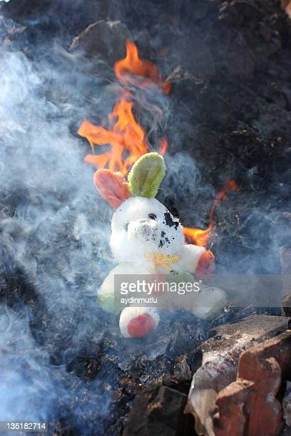 burnt houses and toy rabbit - house collapsing stock pictures, royalty-free photos & images
