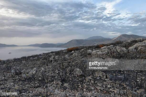 burnt landscape and karaburun peninsula at the background at sunset. - emreturanphoto stock pictures, royalty-free photos & images