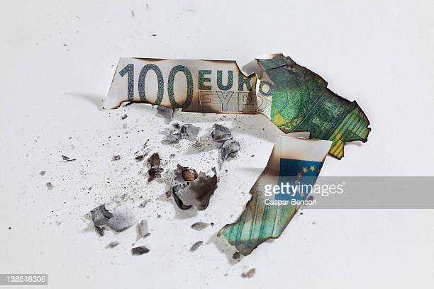 A burnt one hundred euro banknote