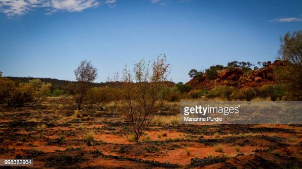 Burnt out areas in an arid landscape