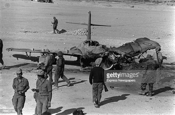 A burnt out Egyptian aircraft at El Auth airport Sinai during the Six Day War