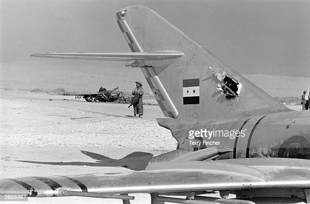 Burnt out Egyptian aircraft at ElArish base in Sinai after a preemptive attack by Israelis during the SixDay War
