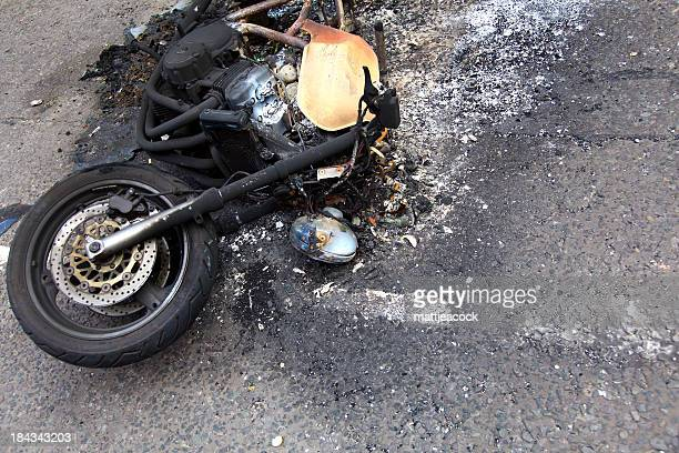 burnt out motorbike - crash stock pictures, royalty-free photos & images