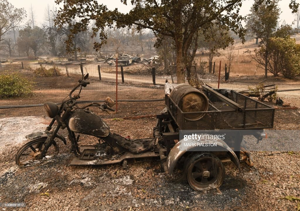 A burnt out motorcycle in the Keswick neighborhood of