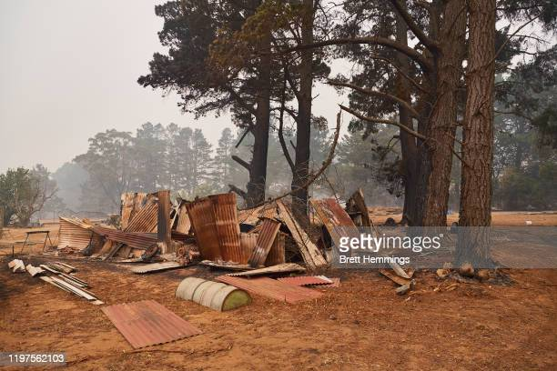 Burnt out structure is pictured on January 5, 2020 in Wingello, Australia. One person has died overnight in Batlow and four firefighters were...