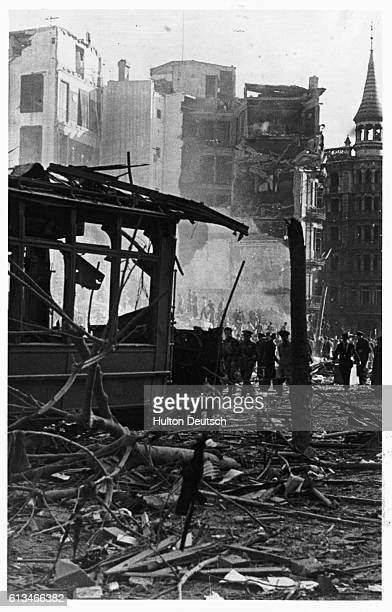 A burnt out tramcar destroyed in a nationalist raid on governmentheld Barcelona during the Spanish Civil War | Location Barcelona Spain