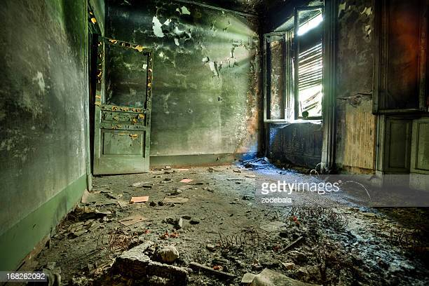 burnt room in abandoned house, hdr - abandoned stock pictures, royalty-free photos & images