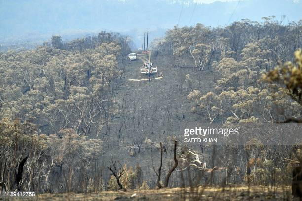 Burnt trees are seen after a bushfire in Mount Weison in Blue Mountains some 120 kilometres northwest of Sydney on December 18 2019 Australia this...