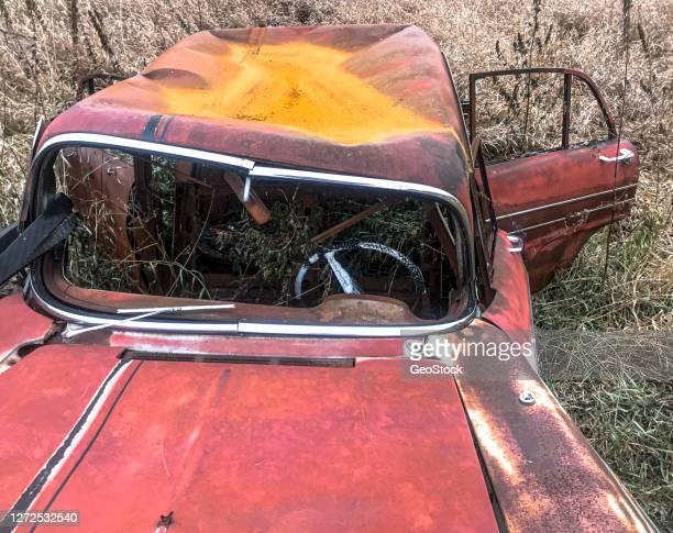 burnt wreck of old car in a field - horrible car accidents stock pictures, royalty-free photos & images