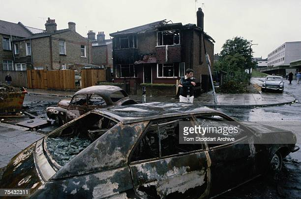 Burntout cars in Tottenham north London after the Broadwater Farm riot 5th October 1985 The rioting was sparked off by the death of local woman...