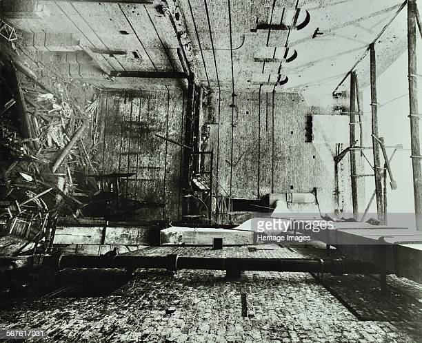 Burntout interior of the Drury Lane Theatre Covent Garden London 1908 View of the backstage area showing fire damage and rubble with the roof missing