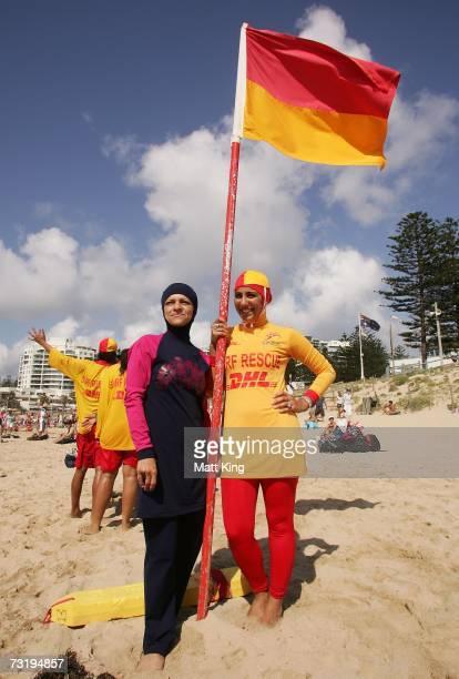 Burqini designer Aheda Zanetti poses with Mecca Laa Laa wearing a 'Burqini' on her first surf lifesaving patrol at North Cronulla Beach February 4,...