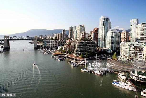 Burrard Bridge, False Creek skyline, Vancouver, BC