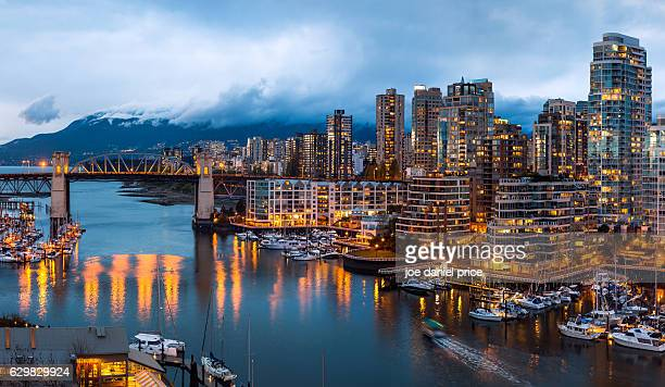 burrard bridge, vancouver, british columbia, canada - british columbia stock pictures, royalty-free photos & images