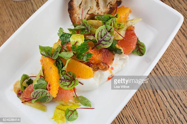 Burrata from Hamden CT with grapefruit celery hearts and calabrian chiles Photo by Lisa Wiltse