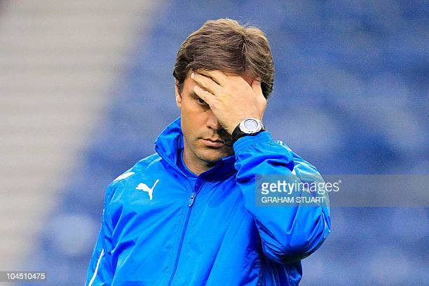 Bursapor's manager Ertugrul Saglam reacts during a training at Ibrox Stadium Glasgow Scotland on September 28 2010 a day prior their UEFA Champions...