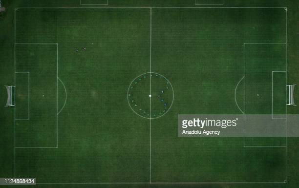 Bursaspor's youth team form a shape of heart during a training session on Valentine's Day February 14 2019 in BursaTurkey