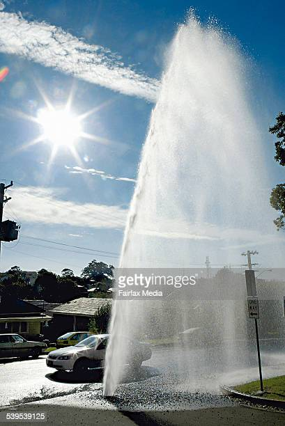 A burst water pipe lets fly with the H2O on Rowland Street just 2 hours before Frank Sartor visits the Illawarra to announce stricter water...