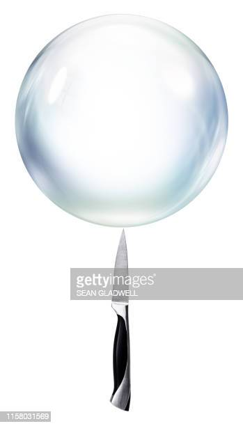 bursting bubble - kitchen knife stock pictures, royalty-free photos & images