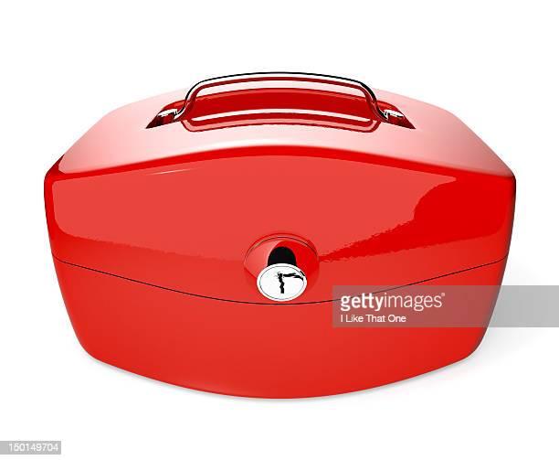 Bursting red cash security case