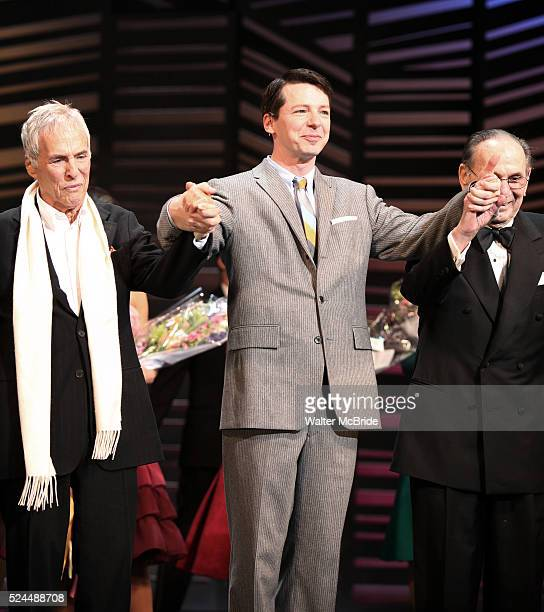 Burt Bacharach Sean Hayes Hal David taking a bow on the Opening Night Broadway performance Curtain Call for PROMISES PROMISES at the Broadway Theatre...