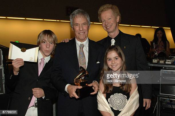 Burt Bacharach winner of Best Pop Instrumental Album for At This Time with son Oliver and daughter Raliegh and Terry Lickona of NARAS...