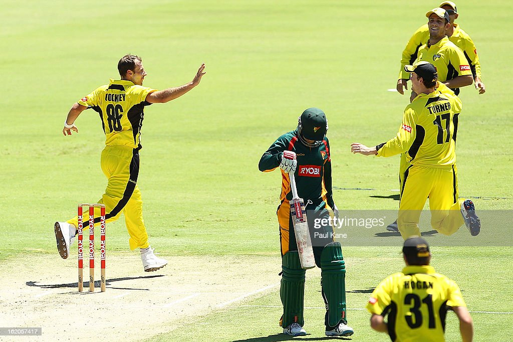 Burt Cockley of the Warriors celebrates the wicket of Ben Dunk of the Tigers during the Ryobi One Day Cup match between the Western Australia Warriors and the Tasmanian Tigers at the WACA on February 19, 2013 in Perth, Australia.