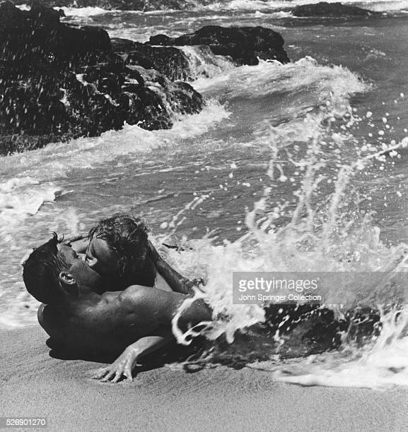 Burt Lancaster and Deborah Kerr as Milton Warden and Karen Holmes in their famous surfside kiss in From Here to Eternity